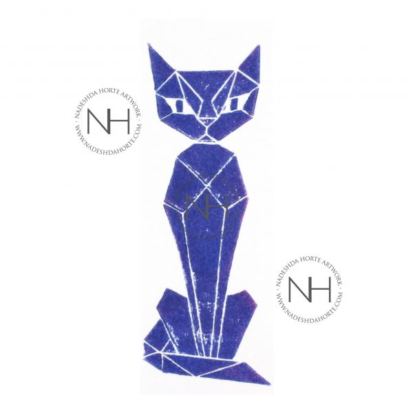 Lesezeichen, Geometrische Katze, Blau, Nadeshda Horte
