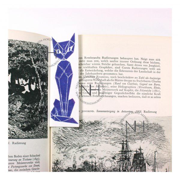 Lesezeichen, Geometrische Katze, Blau im Buch, Nadeshda Horte