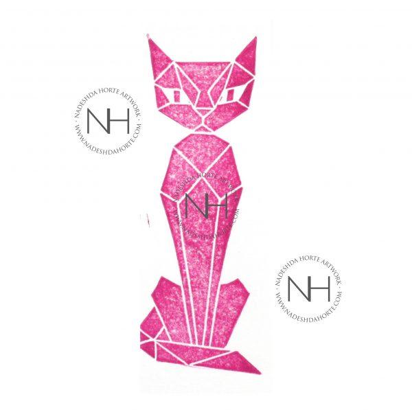 Lesezeichen, Geometrische Katze, Pink, Nadeshda Horte