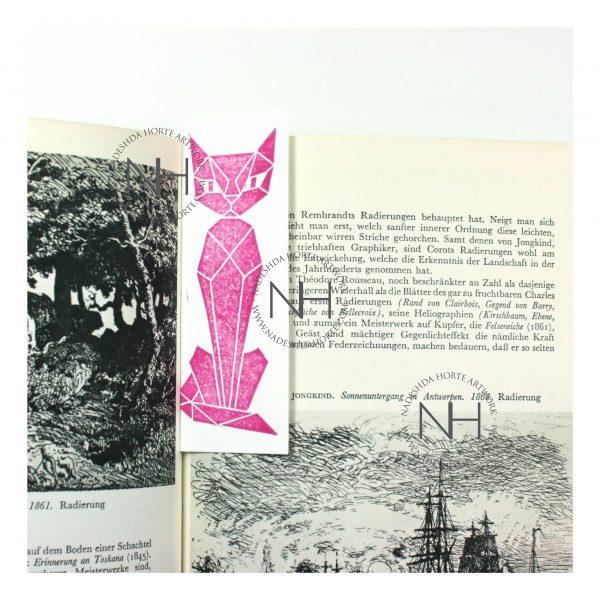 Lesezeichen, Geometrische Katze, Pink im Buch, Nadeshda Horte