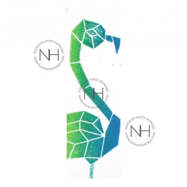 Lesezeichen, Geometrischer Falmingo, Grün, Blau, Nadeshda Horte