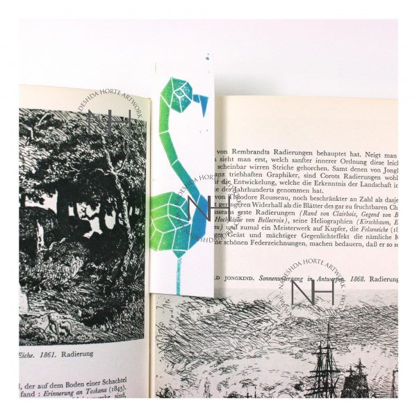 Lesezeichen, Geometrischer Falmingo, Grün, Blau im Buch, Nadeshda Horte