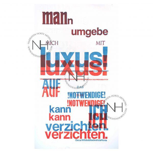 Luxus, Blau, Rot, Oscar Wilde, Buchdruck, Original, Unikat, Nadeshda Horte