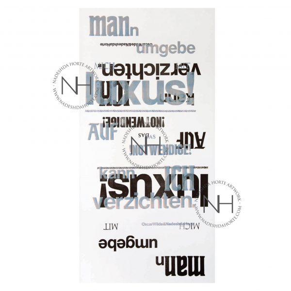 Luxus, Oscar Wilde, Buchdruck, Original, Unikat, Nadeshda Horte