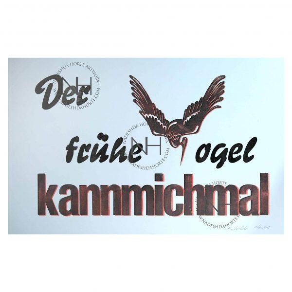 Vogel, Buchdruck, Typografie, Bild, Print, Unikat, Nadeshda Horte