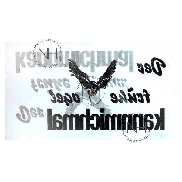 Vogelbild, Buchdruck, Typografie, Bild, Print, Unikat, Nadeshda Horte